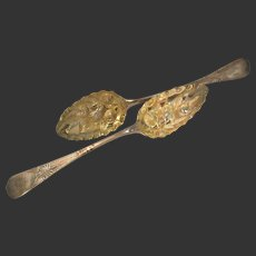English Sterling Silver & Gilt Pair of Chased Serving Berry Spoons Circa 1815 by Sarah & John William Blake
