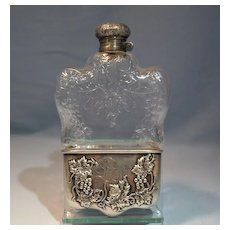 Dominick & Haff Sterling Silver & Cut Glass Large Flask Grape-Wine Motif Late 19th Century