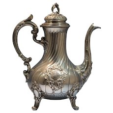 French Sterling Silver Applied Art Nouveau Tea/Chocolate Pot by Rudolphe Beunke