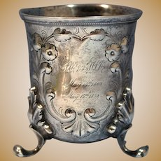 Rare Antique American Coin Silver Large Beaker by A. Rumrill & Co. Circa 1850s