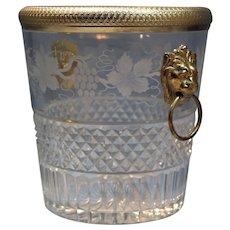 Baccarat Gilt Bronze Cut Glass Ice Bucket w/Lion's Faces Grape-Wine Motif