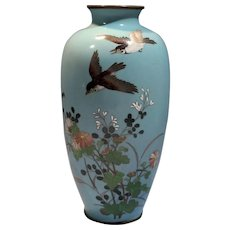 Adachi Kinjiro Japanese Meiji Cloisonné Enamel Vase Floral Bird Motif late 19th/Early 20th Century