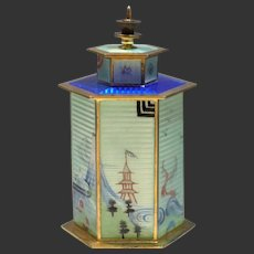 Rare & Unusual Norwegian Silver Gilt & Guilloche Enamel Chinese Pagoda Tea Caddy J. Tostrup