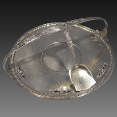 Art Nouveau Durgin Sterling Silver Hand Hammered Pastry Pierced Platter/Tray w/Serving Shovel