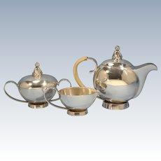 Italian Sterling Silver by National Silver Co. Tea Pot Creamer Sugar Bowl Arabic Snake Flute Player