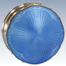 Birmingham English Sterling Silver Blue Guilloche Enamel Large Powder Box A. & J. Zimmerman Circa 1926