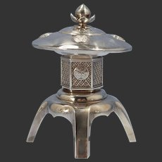 Japanese Sterling 950 Silver Large Pagoda Building Spice Condiment/Cellar