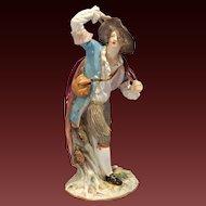 Antique Meissen Painted Porcelain Figure Of a Young Lad w/Sachet late 19th Century
