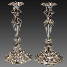 Antique German 800 Silver Pair of Repousse Candlesticks Circa 1880s