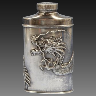 Chinese Sterling Silver Dragon Flask/Bottle Luen Wo Shanghai late 19th Century