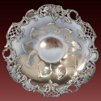 Tiffany Sterling Silver Pierced Blackberry & Leaf Dish Charles L. Tiffany 1892-1902