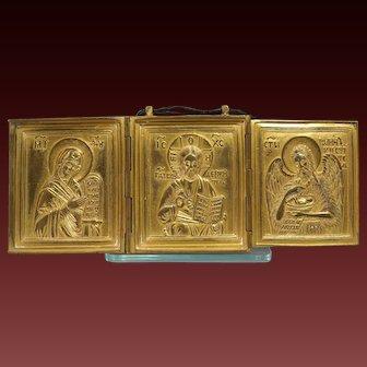 Antique Russian Gilt Bronze Orthodox Folding Triptych late 19th Century