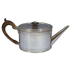 Sterling Silver Antique George III Tea Pot Daniel Smith & Robert Sharp Circa 1780
