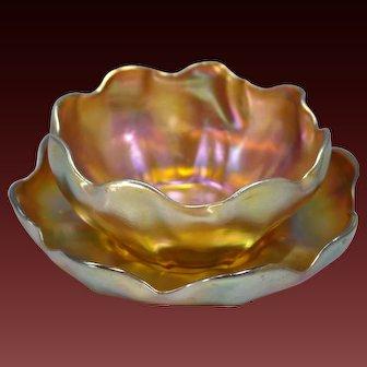 Louis Comfort Tiffany Favrile Gold Iridescent Glass Bowl & Saucer Circa 1915