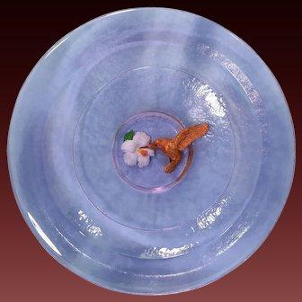 George Bucquet Hot Cast Violet Art Glass Colibri Large Platter/Charger Circa 1999