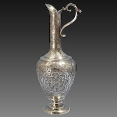 Persian 840 Silver Tall Ewer/Pitcher Hand Chased Floral Birds Plaques Circa 1920s