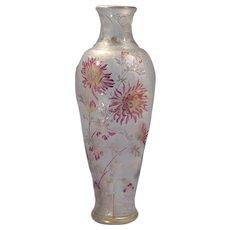 French Art Nouveau Cristallerie de Pantin Cameo Acid-Etched Art Glass Tall Vase Circa 1900