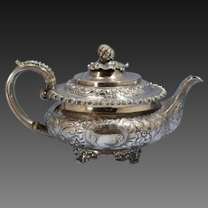 William IV Sterling Silver Repousse Large Tea Pot Sheffield Circa 1835
