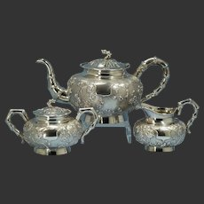 Three-Piece Woshing Shanghai Chinese Export 900 Silver Tea Service Circa 1890s