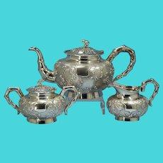 Three-Piece Woshing Shanghai Chinese Export 900 Silver Tea Service Circa 1890s