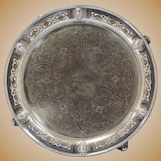 Thomas Bradbury Silverplated Pierced Victorian Footed Salver/Tray Bacchus Mask