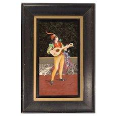 Italian Venetian Pietra-Dura/Micro-Mosaic Plaque of a Cavalier Playing Guitar Circa 1910s