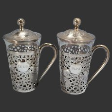 Hong Kong Chinese Sterling Silver Reticulated Pair of Tea Glass Holders Tackhing Circa 1900