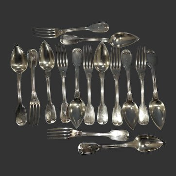 Antique French Sterling Silver 15 Piece Dinning Forks & Spoons Coquille Pattern Circa 1880s
