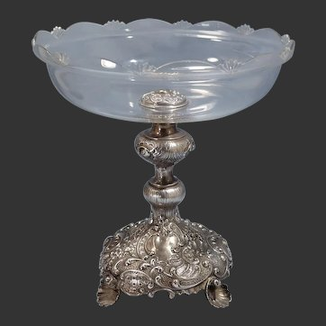 Austrian Art Nouveau 800 Silver Cut Glass Reticulated Shell Design Center-Piece