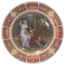 Royal Vienna Painted Porcelain Cabinet Plate/Charger Rinaldo et Armida w/Shadow Box Circa 1920s