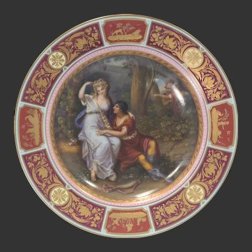 Royal Vienna Painted Porcelain Cabinet Plate/Charger Rinaldo et Armida w/Shadow Box Circa 1920s