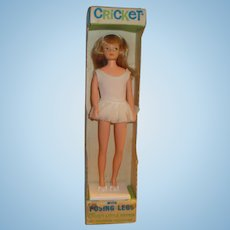 American Character Cricket Doll in Original Outfit, Box, and Stand