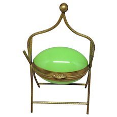 French Green Opalescent Egg Casket