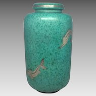 Large Most Beautiful Gustavberg Argentia Fish Vase