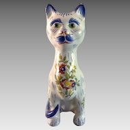 Late 19th to Early 20th Century Flowered French Mosanic Ceramic Cat