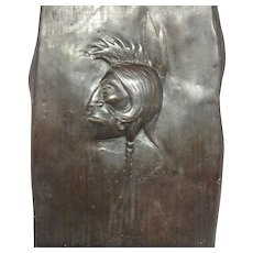 Bronze Indian Plaque. dated, signed