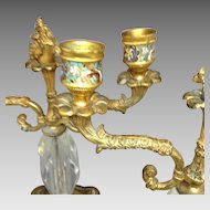 Fabulous Pair 19th Century French Bronze Ormolu Champleve Candelabra