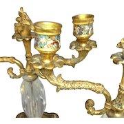 Fabulous Pair 19th Century French Bronze Ormolu Champleve Candelabra