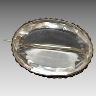 Huge Victorian Quartz Crystal Pin in Silver