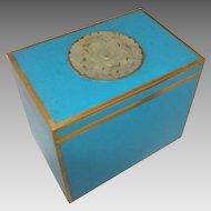 Chinese Robin's Egg Blue Enamel Box with Center Jade Medallion
