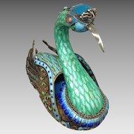 Silver, Enameled, Jeweled Chinese Bird Box