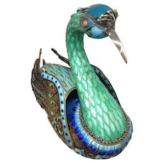 Silver, Enameled, Jeweled Chinese Bird Box