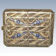 Beautiful Unmarked Filigree  and Enamel Case