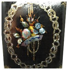 Victorian Papier Mache and Mother of Pearl Letter Holder