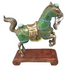 Chinese 800 silver, enamel, jeweled horse