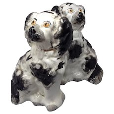 Black and White Staffordshire Mantle Dogs