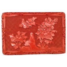 Carved Red Chinese Cinnabar Box
