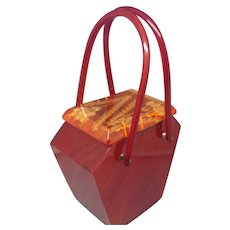 1930's Carved Lucite Handbag