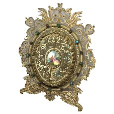 French Brass Enameled jeweled Frame