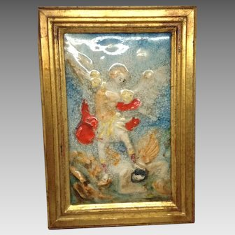 Italian Ceramic Angel Plaque